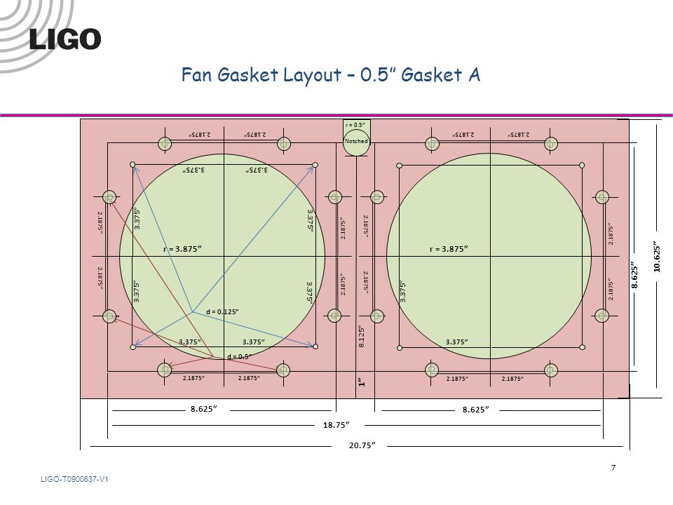 LIGO-T0900637-V1 Fan Gasket Layout – 0.5 Gasket A 18.75 8.625 r = 3.875 8.625 1 8.125 2.1875 3.375 d = 0.125 d = 0.5 10.625 20.75 r = 0.5 3.375 2.1875 3.375 Notched 7