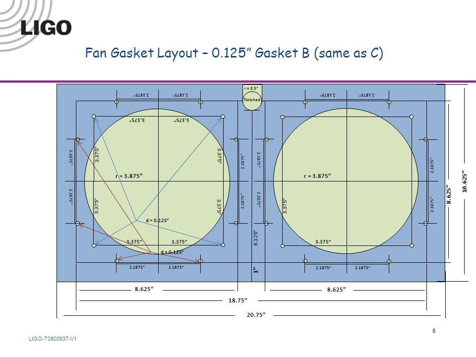 LIGO-T0900637-V1 Fan Gasket Layout – 0.125 Gasket B (same as C) 18.75 8.625 r = 3.875 8.625 1 8.125 2.1875 3.375 d = 0.125 10.625 20.75 r = 0.5 3.375 2.1875 3.375 Notched 8