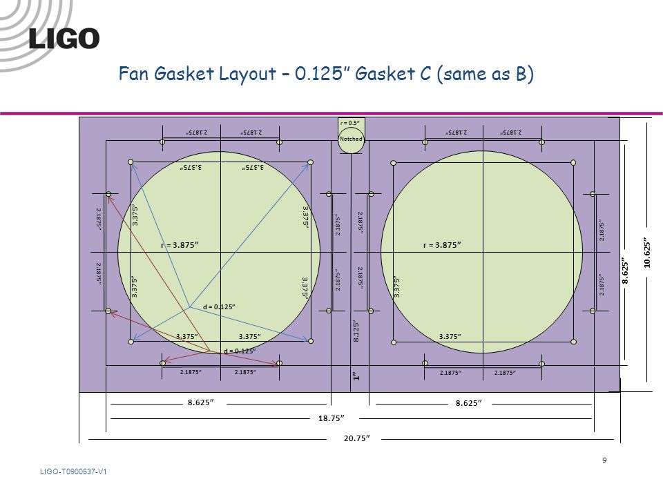 LIGO-T0900637-V1 Fan Gasket Layout – 0.125 Gasket C (same as B) 18.75 8.625 r = 3.875 8.625 1 8.125 2.1875 3.375 d = 0.125 10.625 20.75 r = 0.5 3.375 2.1875 3.375 Notched 9