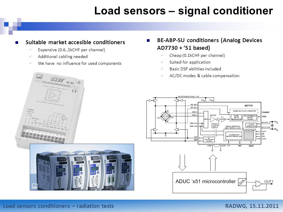 Mateusz Sosin Research status of Low-Beta weighting system Load sensors – signal conditioner Suitable market accesible conditioners Expensive (0.6..1kCHF per channel) Additional cabling needed We have no influence for used components BE-ABP-SU conditioners (Analog Devices AD7730 + '51 based) Cheap (0.1kCHF per channel) Suited for application Basic DSP abilities included AC/DC modes & cable compensation Load sensors conditioners – radiation tests RADWG, 15.11.2011