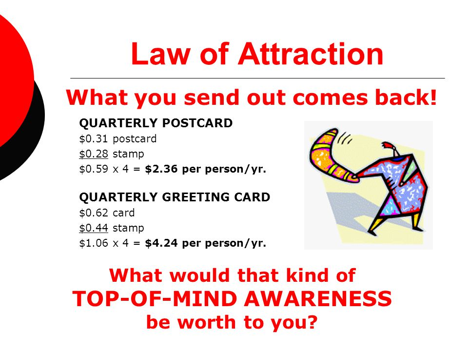 Law of Attraction QUARTERLY POSTCARD $0.31 postcard $0.28 stamp $0.59 x 4 = $2.36 per person/yr. What would that kind of TOP-OF-MIND AWARENESS be wort
