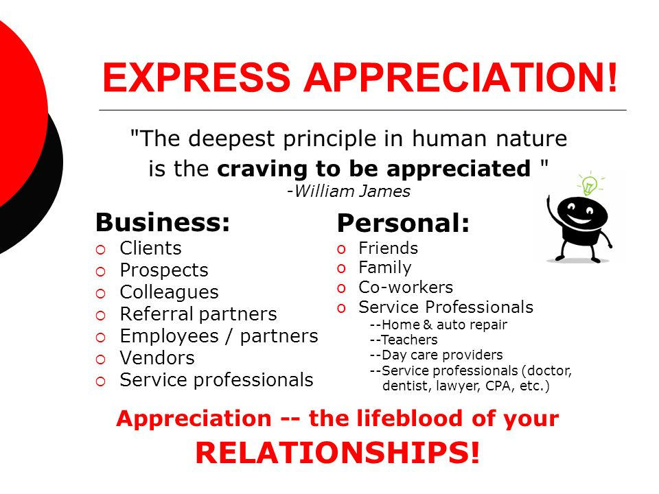 EXPRESS APPRECIATION! Business:  Clients  Prospects  Colleagues  Referral partners  Employees / partners  Vendors  Service professionals