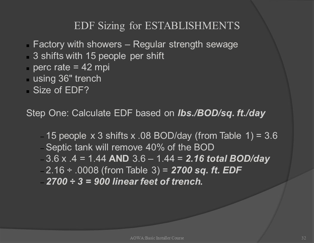 AOWA:Basic Installer Course32 n Factory with showers – Regular strength sewage n 3 shifts with 15 people per shift n perc rate = 42 mpi n using 36 trench n Size of EDF.