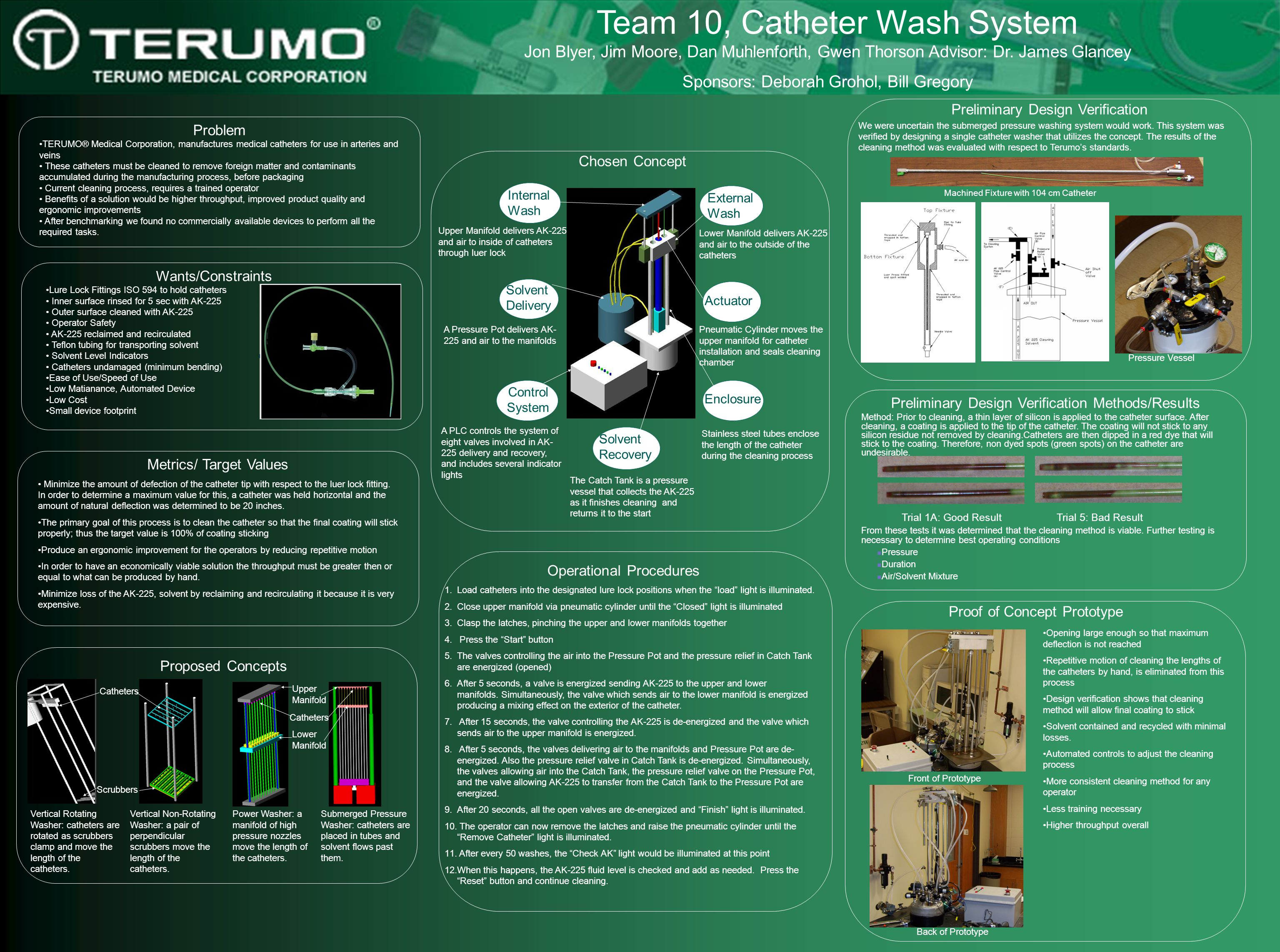 Team 10, Catheter Wash System Problem TERUMO® Medical Corporation, manufactures medical catheters for use in arteries and veins These catheters must b