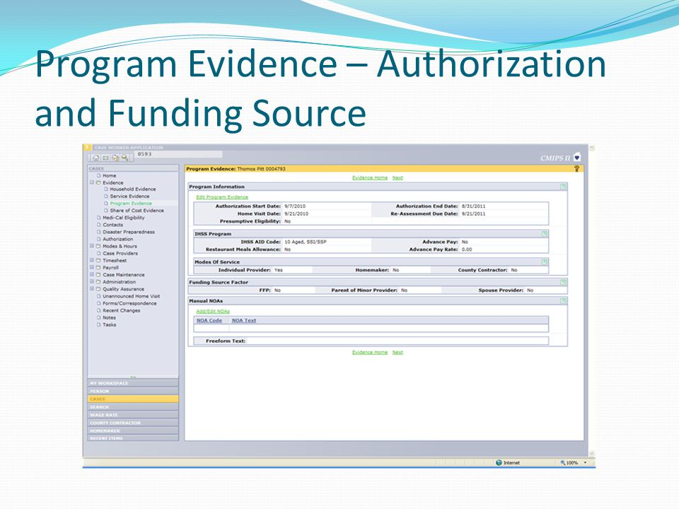 Program Evidence – Authorization and Funding Source
