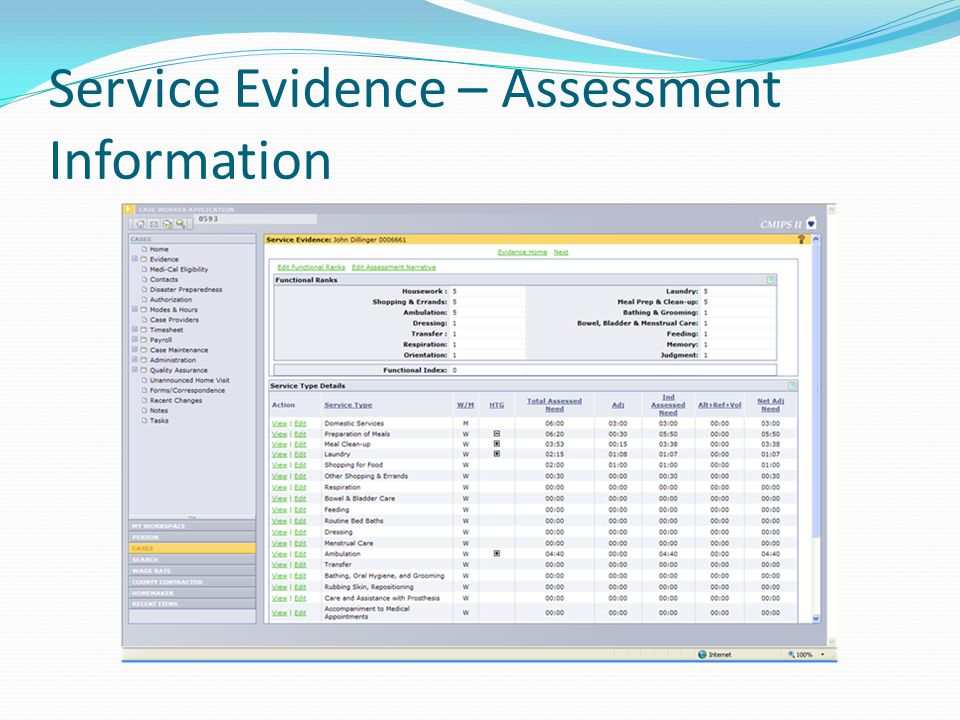 Service Evidence Screen- Recipient Data Assessment data including: Functional Ranks Service Types Weekly/Monthly Indicator by Service HTG Indicator (+ or – if the Individual Assessed Need is outside of HTGs) Total Assessed Need Adjustments – Proration Individual Assessed Need Combined hours for Alternative Resources, Refused Services, and Voluntary Services Net Adjusted Need