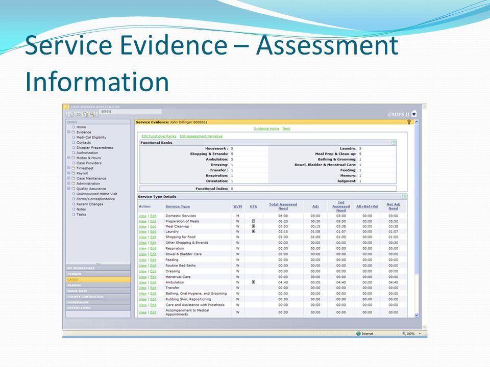 Service Evidence – Assessment Information