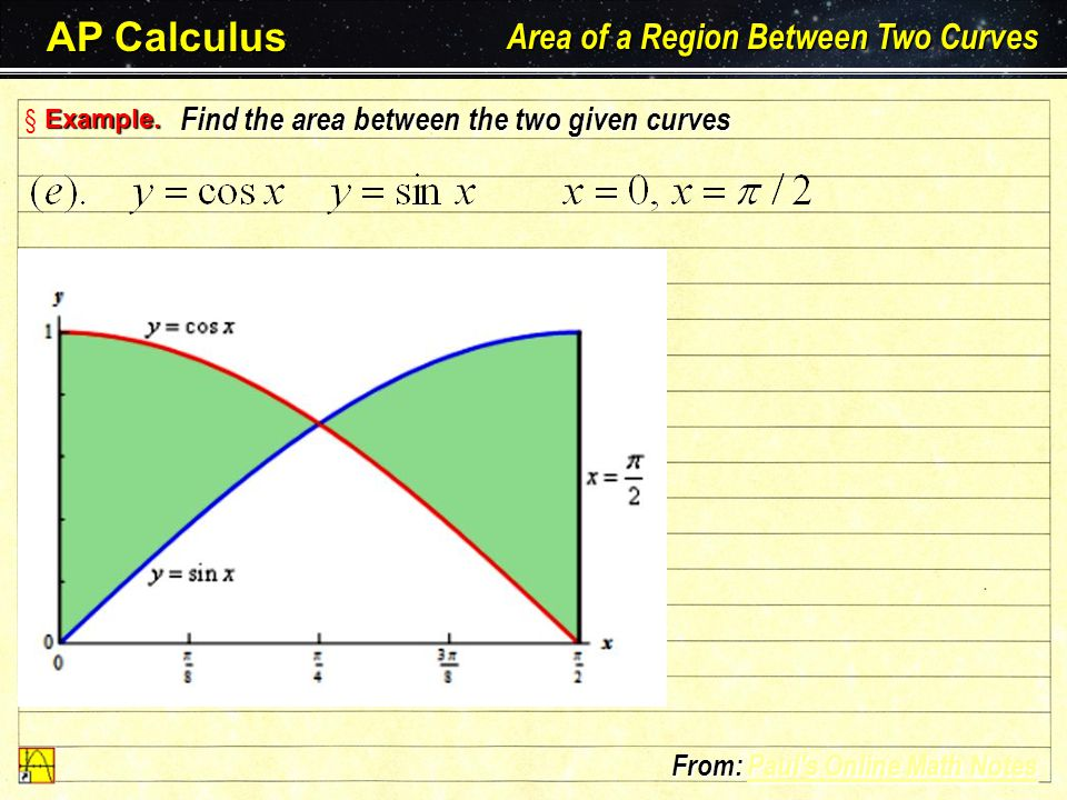 AP Calculus Area of a Region Between Two Curves Larson – Hostetler – Edwards: Chapter 7.1 E§ EE§ Example. Find the area between the two given curves F