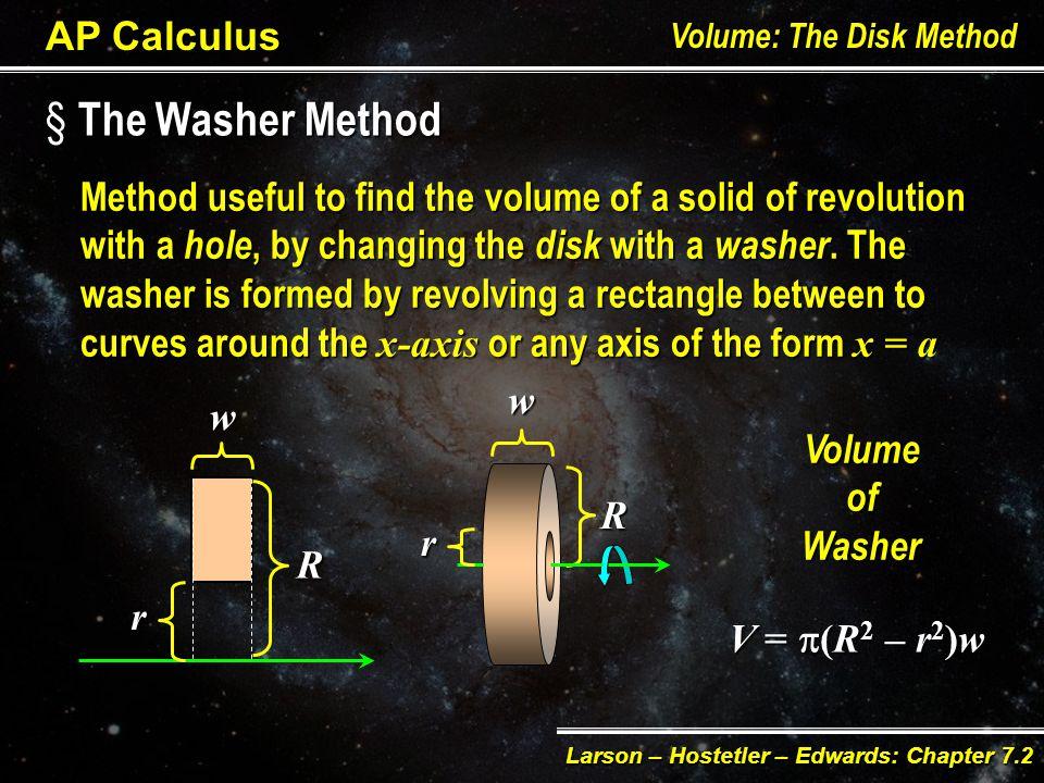 AP Calculus Volume: The Disk Method Larson – Hostetler – Edwards: Chapter 7.2 Practice.