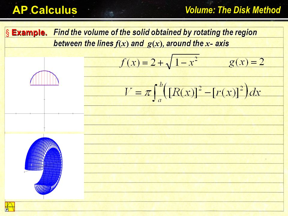 AP Calculus Volume: The Disk Method Larson – Hostetler – Edwards: Chapter 7.2 E§ EE§ Example.
