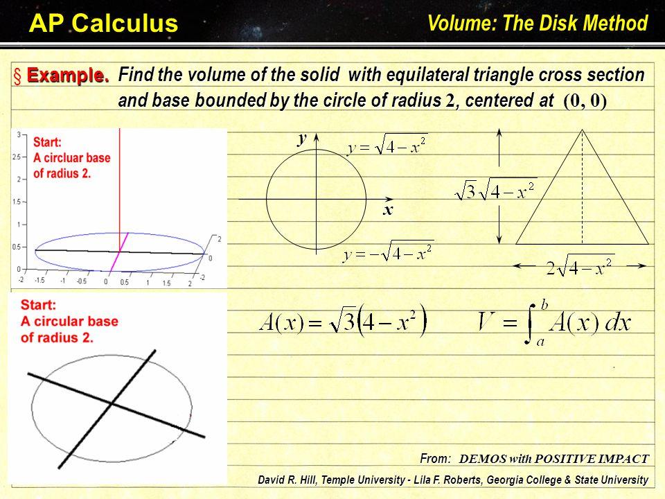 AP Calculus Volume: The Disk Method Larson – Hostetler – Edwards: Chapter 7.2 E§ EE§ Example.