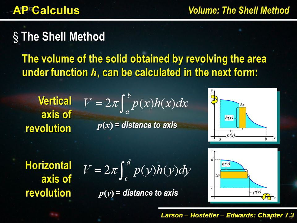 § The Shell Method AP Calculus Volume: The Shell Method Larson – Hostetler – Edwards: Chapter 7.3 Volume of Shell: h w pyx ph p + w / 2 p  w / 2 w y x If w w = y, p = p(y), h = h(y) V = 2[ p(y) h(y)]y 