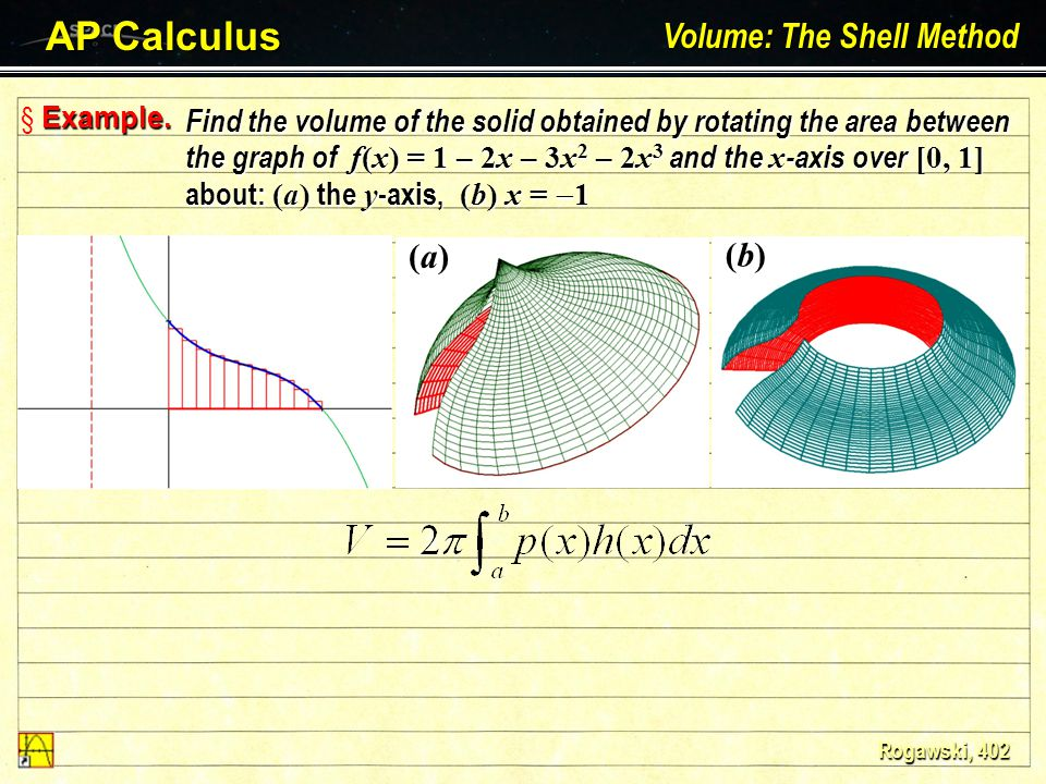 § The Shell Method AP Calculus Volume: The Shell Method Larson – Hostetler – Edwards: Chapter 7.3 The volume of the solid obtained by revolving the ar