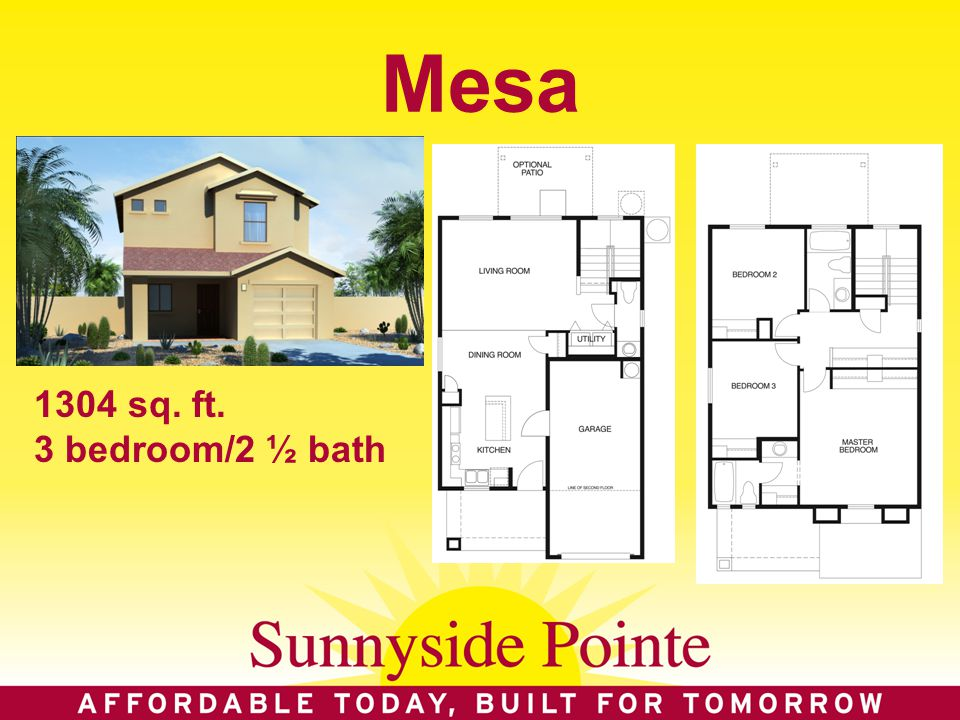 Mesa 1304 sq. ft. 3 bedroom/2 ½ bath