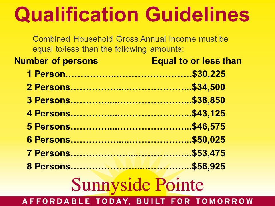 Qualification Guidelines Number of personsEqual to or less than 1 Person……………..…………………….$30,225 2 Persons…………….....………………...$34,500 3 Persons………….....…………………...$38,850 4 Persons………….....…………………...$43,125 5 Persons………….....…………………...$46,575 6 Persons…………….....………………...$50,025 7 Persons……………….....……………...$53,475 8 Persons………………….....…………...$56,925 Combined Household Gross Annual Income must be equal to/less than the following amounts:
