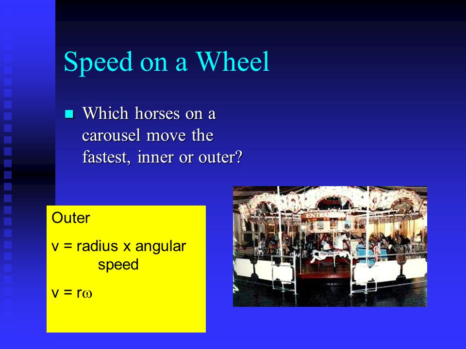 Speed on a Wheel Which horses on a carousel move the fastest, inner or outer? Which horses on a carousel move the fastest, inner or outer? Outer v = r
