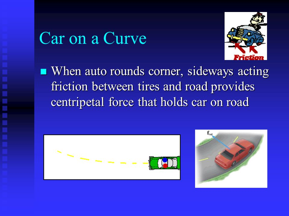 Car on a Curve When auto rounds corner, sideways acting friction between tires and road provides centripetal force that holds car on road When auto ro