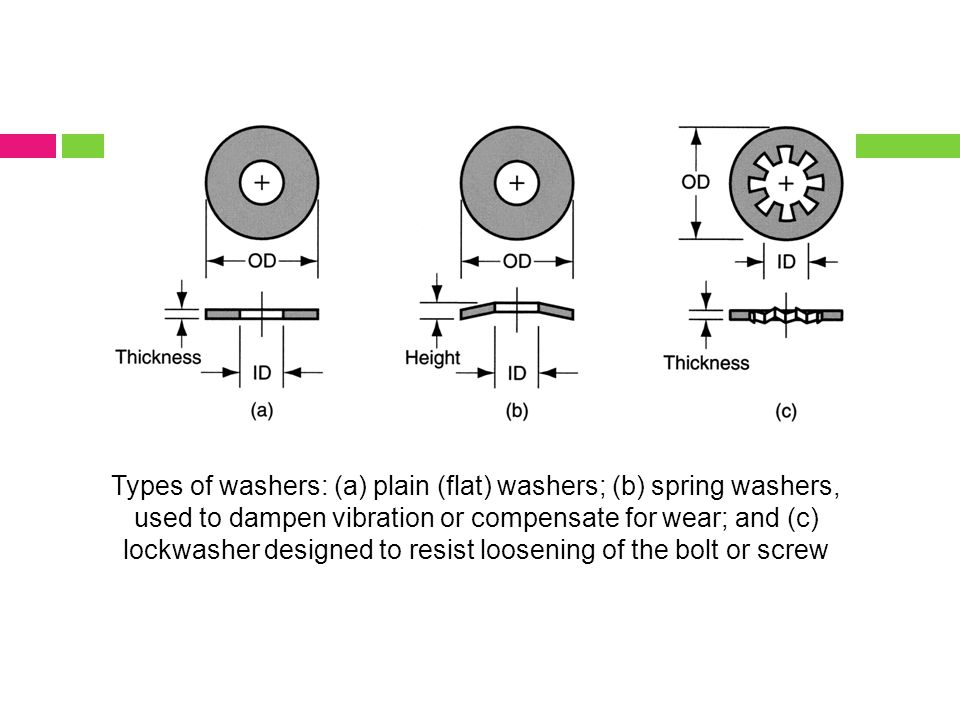 Types of washers: (a) plain (flat) washers; (b) spring washers, used to dampen vibration or compensate for wear; and (c) lockwasher designed to resist loosening of the bolt or screw