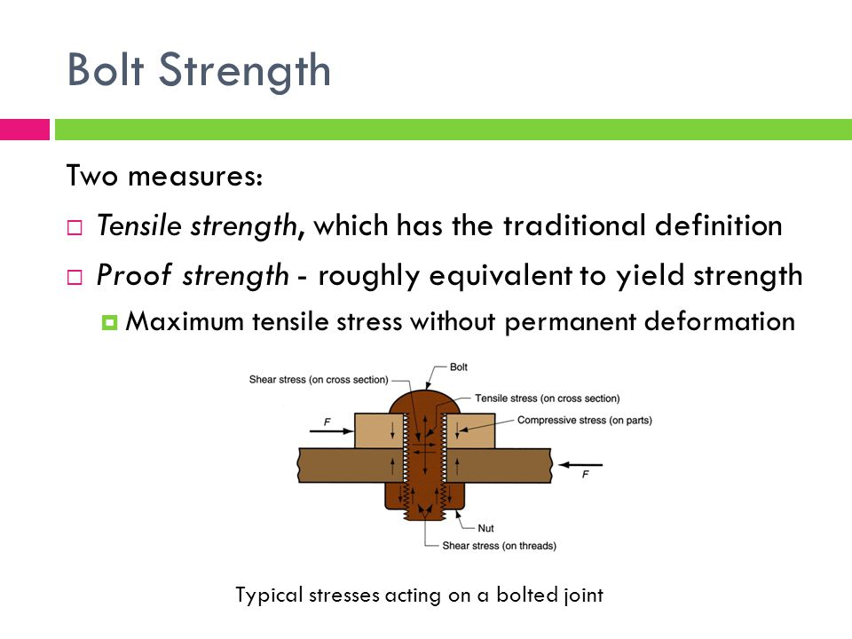 Bolt Strength Two measures:  Tensile strength, which has the traditional definition  Proof strength - roughly equivalent to yield strength  Maximum tensile stress without permanent deformation Typical stresses acting on a bolted joint