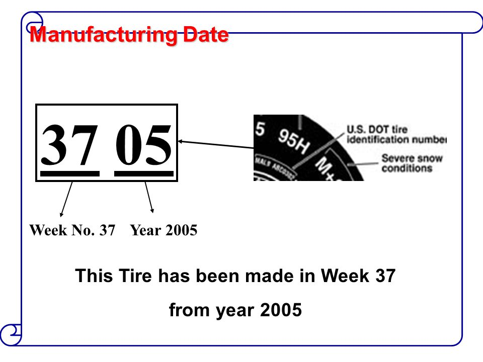 Manufacturing Date 37 05 Week No. 37Year 2005 This Tire has been made in Week 37 from year 2005