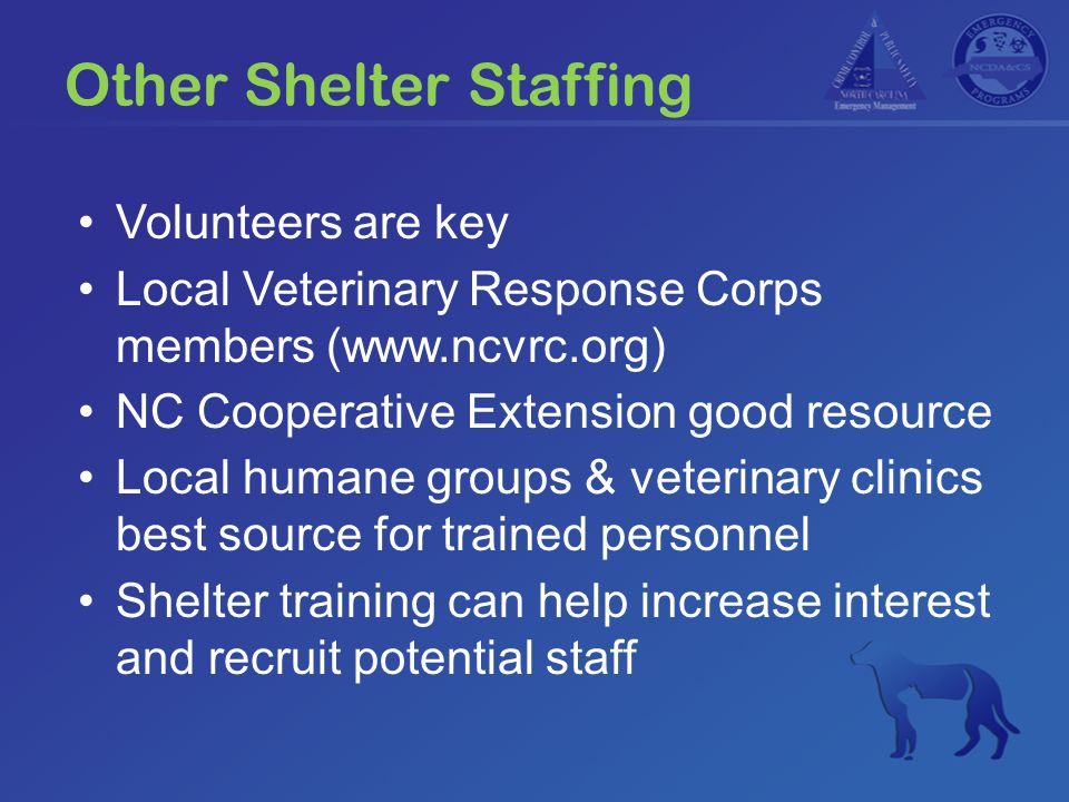 Other Shelter Staffing Volunteers are key Local Veterinary Response Corps members (www.ncvrc.org) NC Cooperative Extension good resource Local humane groups & veterinary clinics best source for trained personnel Shelter training can help increase interest and recruit potential staff