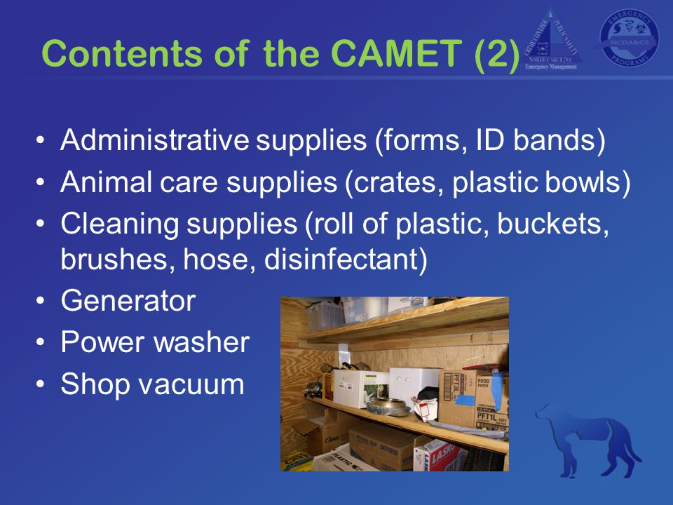 CAMET History Original idea in 2005 Committee formed early 2006 Included representatives from –NC Division of Emergency Management –NCDA&CS Emergency Programs –State Animal Response Team –NC Division of Public Health –American Red Cross