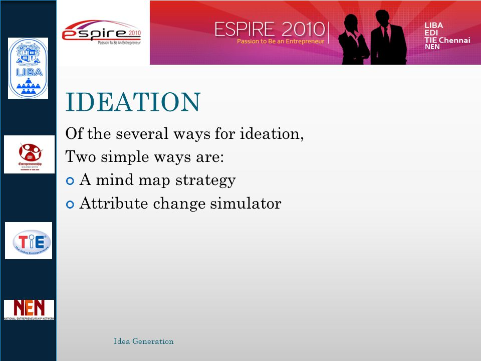IDEATION Of the several ways for ideation, Two simple ways are: A mind map strategy Attribute change simulator Idea Generation