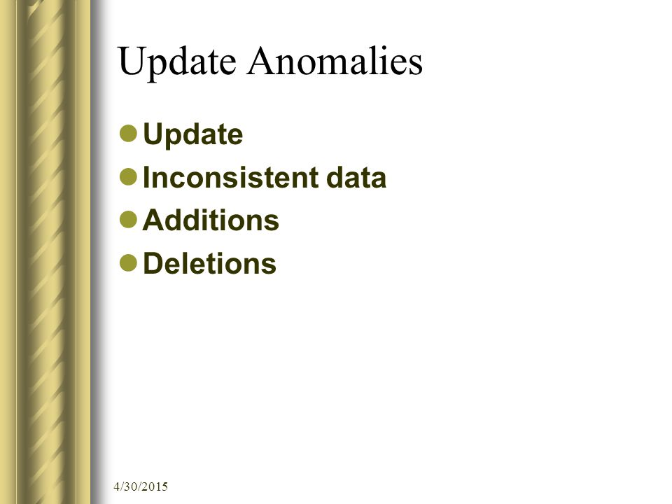 4/30/2015 Update Anomalies Update Inconsistent data Additions Deletions