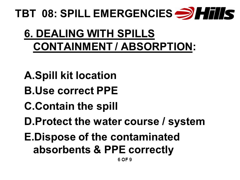 TBT 08: SPILL EMERGENCIES 6.