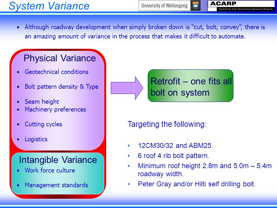 "System Variance Although roadway development when simply broken down is ""cut, bolt, convey"", there is an amazing amount of variance in the process tha"