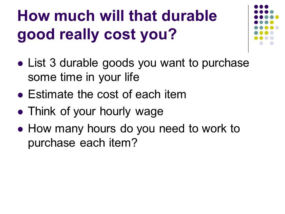 How much will that durable good really cost you.