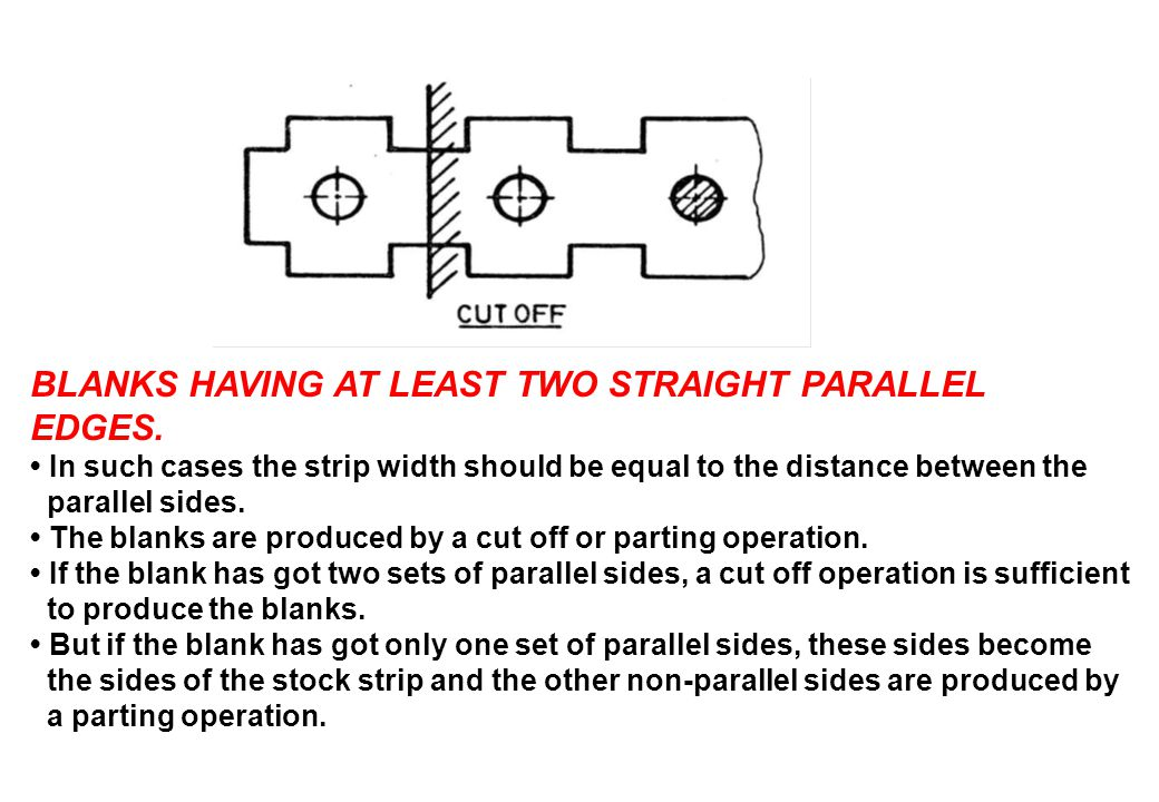 BLANKS HAVING AT LEAST TWO STRAIGHT PARALLEL EDGES. In such cases the strip width should be equal to the distance between the parallel sides. The blan