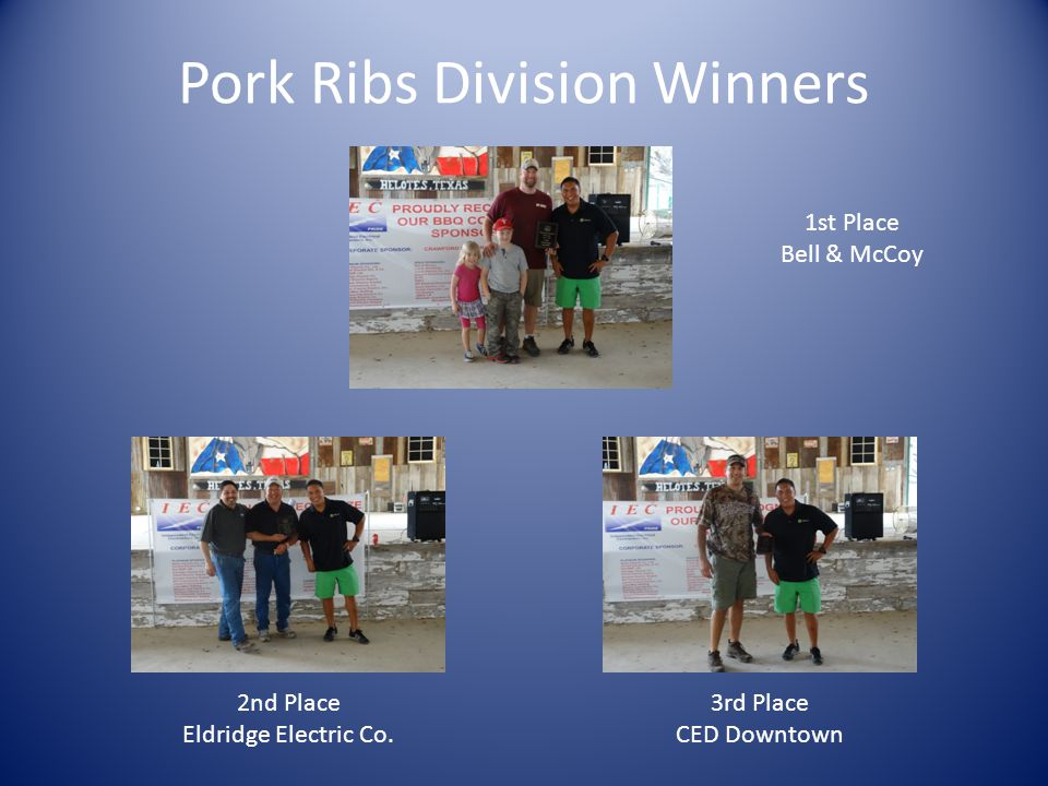 Pork Ribs Division Winners 1st Place Bell & McCoy 2nd Place Eldridge Electric Co.