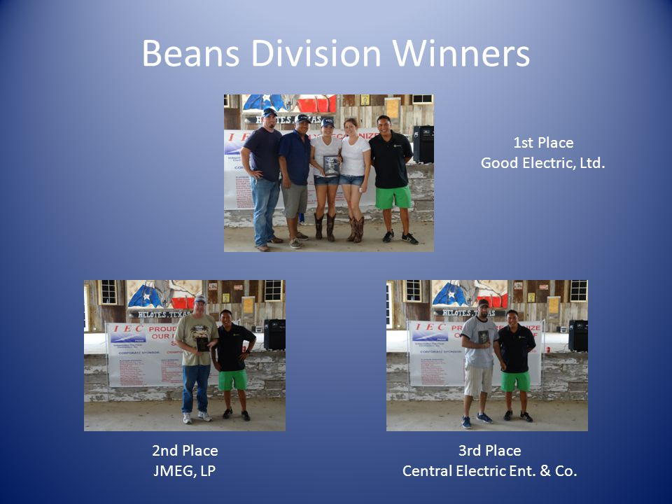 Beans Division Winners 1st Place Good Electric, Ltd.