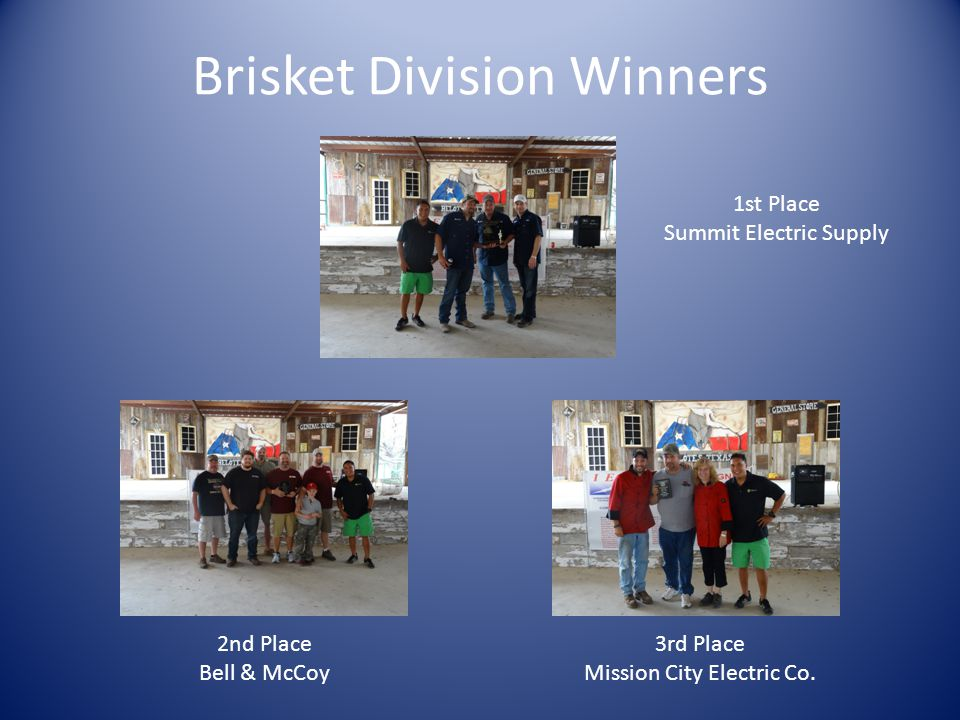 Brisket Division Winners 1st Place Summit Electric Supply 2nd Place Bell & McCoy 3rd Place Mission City Electric Co.