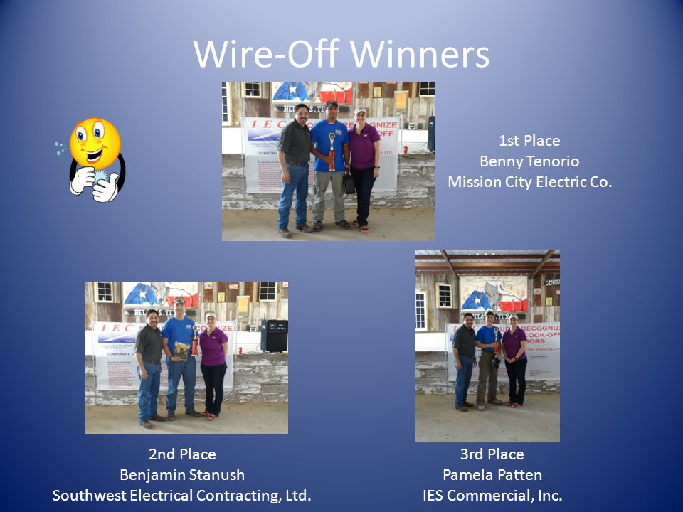 Wire-Off Winners 1st Place Benny Tenorio Mission City Electric Co.