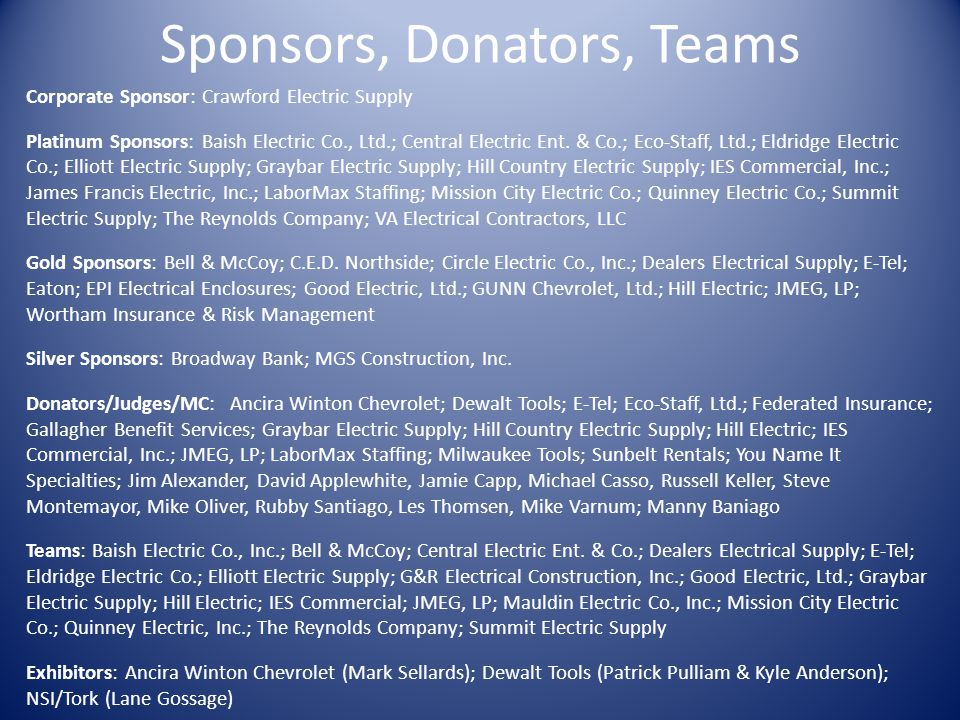 Sponsors, Donators, Teams Corporate Sponsor: Crawford Electric Supply Platinum Sponsors: Baish Electric Co., Ltd.; Central Electric Ent.