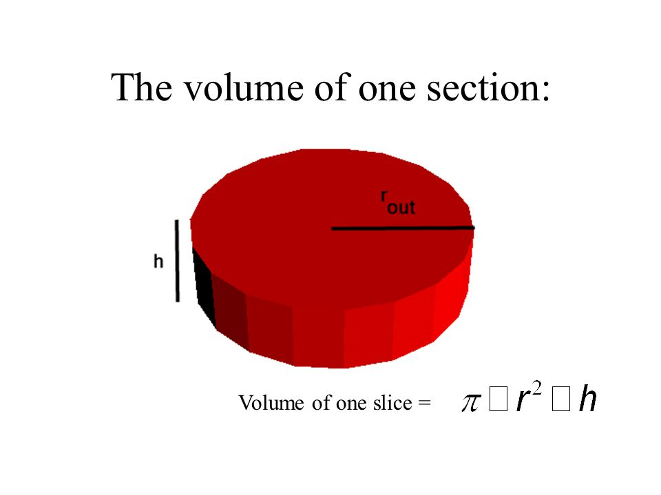 The volume of one section: Volume of one slice =