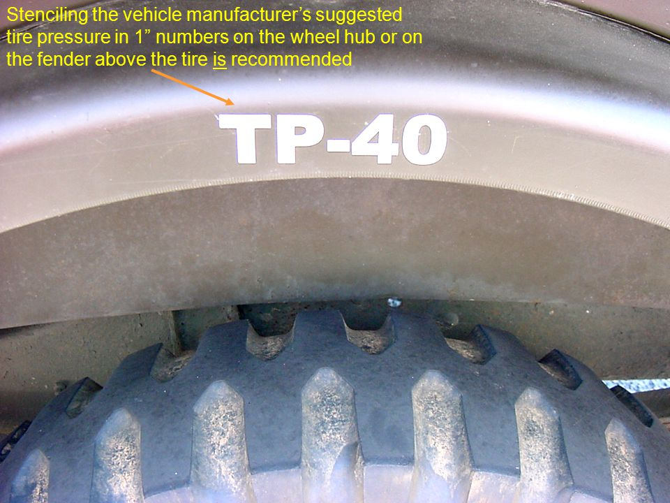 CIVIL AIR PATROL National Headquarters, Maxwell AFB AL 36112-5572 4-2008 PPT 217-S.43 CAP SENIOR SAFETY COURSE Stenciling the vehicle manufacturer's suggested tire pressure in 1 numbers on the wheel hub or on the fender above the tire is recommended