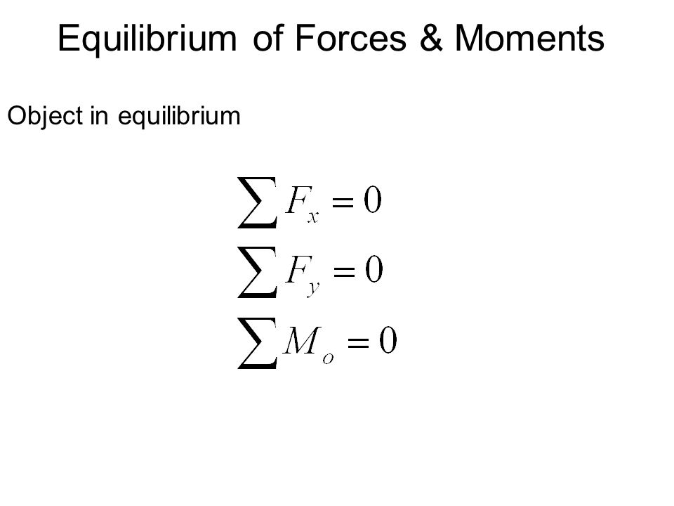 Equilibrium of Forces & Moments Object in equilibrium