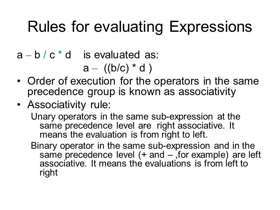Rules for evaluating Expressions 2+2*8 Evaluation tree.