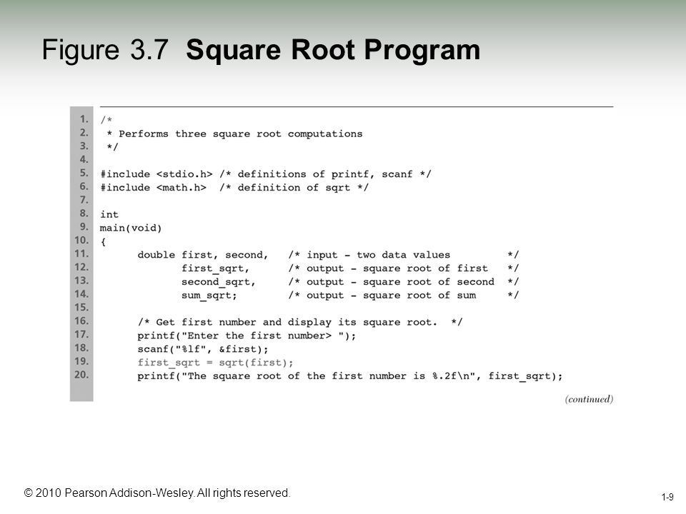 1-9 © 2010 Pearson Addison-Wesley. All rights reserved. 1-9 Figure 3.7 Square Root Program
