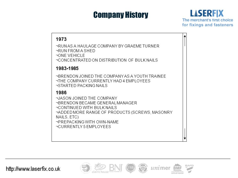 Company History 1973 ¬RUN AS A HAULAGE COMPANY BY GRAEME TURNER ¬RUN FROM A SHED ¬ONE VEHICLE ¬CONCENTRATED ON DISTRIBUTION OF BULK NAILS 1983-1985 ¬BRENDON JOINED THE COMPANY AS A YOUTH TRAINEE ¬THE COMPANY CURRENTLY HAD 4 EMPLOYEES ¬STARTED PACKING NAILS 1986 ¬JASON JOINED THE COMPANY ¬BRENDON BECAME GENERAL MANAGER ¬CONTINUED WITH BULK NAILS ¬ADDED MORE RANGE OF PRODUCTS (SCREWS, MASONRY NAILS, ETC) ¬PREPACKING WITH OWN-NAME ¬CURRENTLY 5 EMPLOYEES