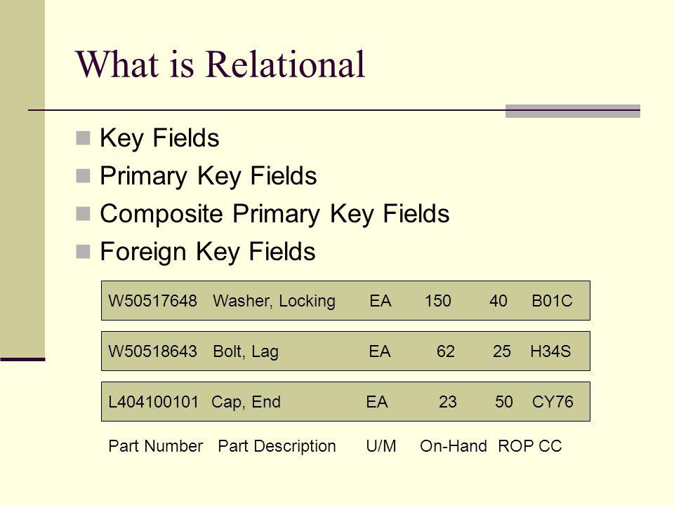What is Relational Key Fields Primary Key Fields Composite Primary Key Fields Foreign Key Fields W50517648 Washer, Locking EA 150 40 B01C W50518643 Bo