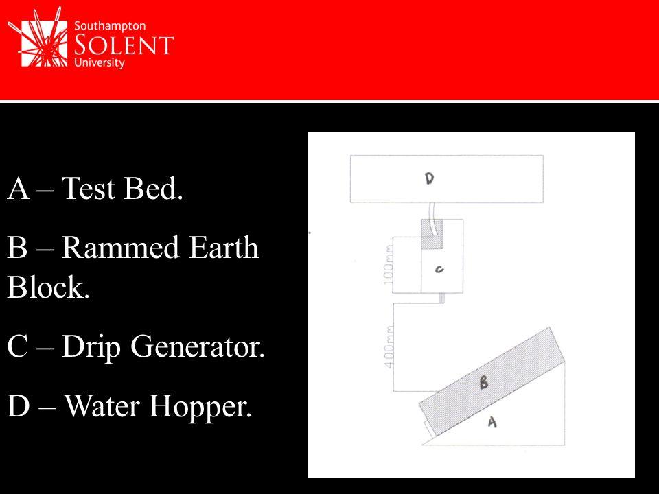 A – Test Bed. B – Rammed Earth Block. C – Drip Generator. D – Water Hopper.