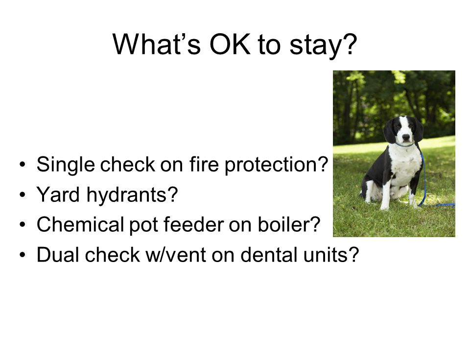 What's OK to stay. Single check on fire protection.