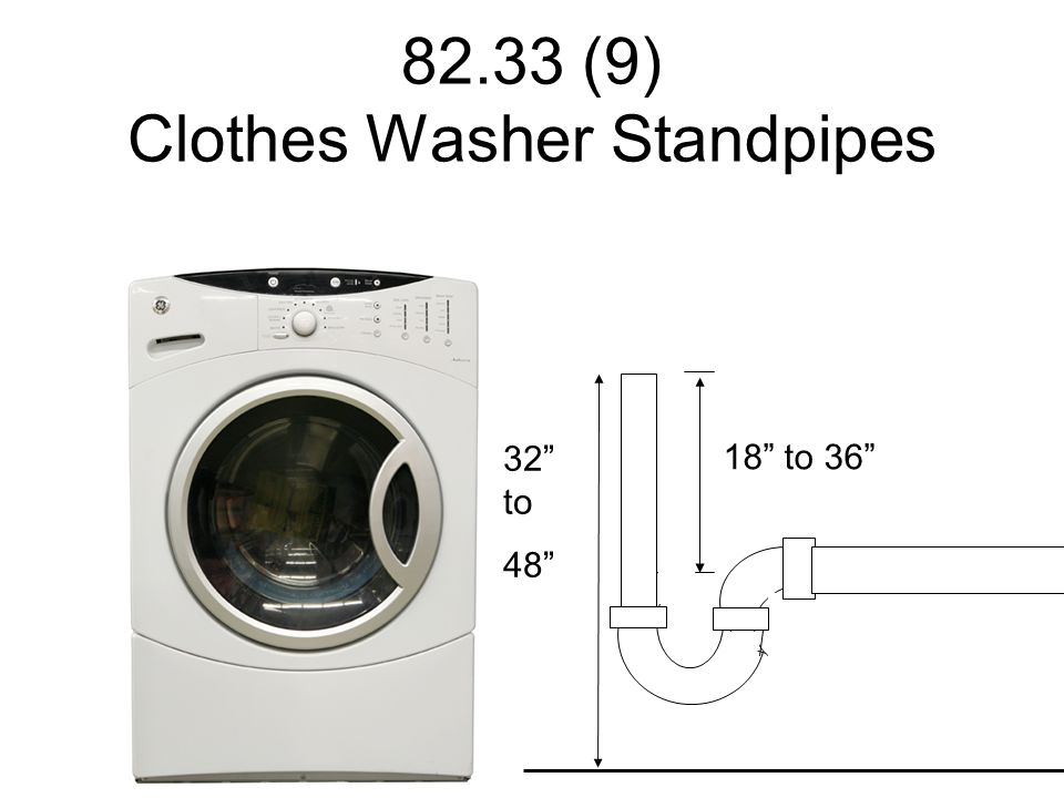 """82.33 (9) Clothes Washer Standpipes 18"""" to 36"""" 32"""" to 48"""""""
