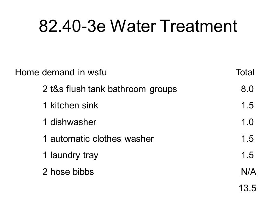 82.40-3e Water Treatment Home demand in wsfuTotal 2 t&s flush tank bathroom groups 8.0 1 kitchen sink 1.5 1 dishwasher 1.0 1 automatic clothes washer 1.5 1 laundry tray 1.5 2 hose bibbs N/A 13.5