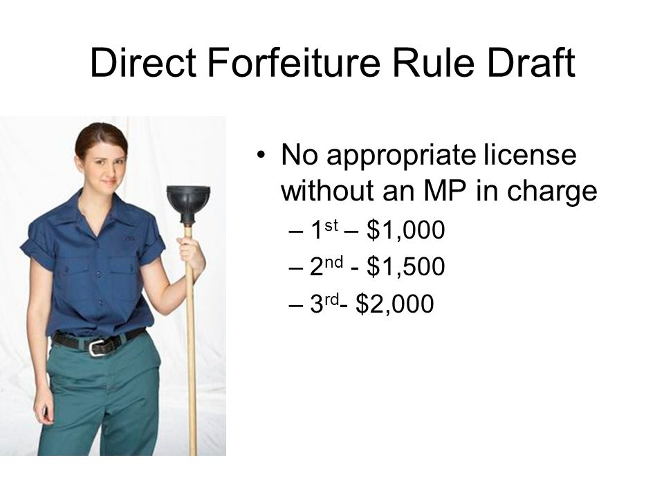 No appropriate license without an MP in charge –1 st – $1,000 –2 nd - $1,500 –3 rd - $2,000