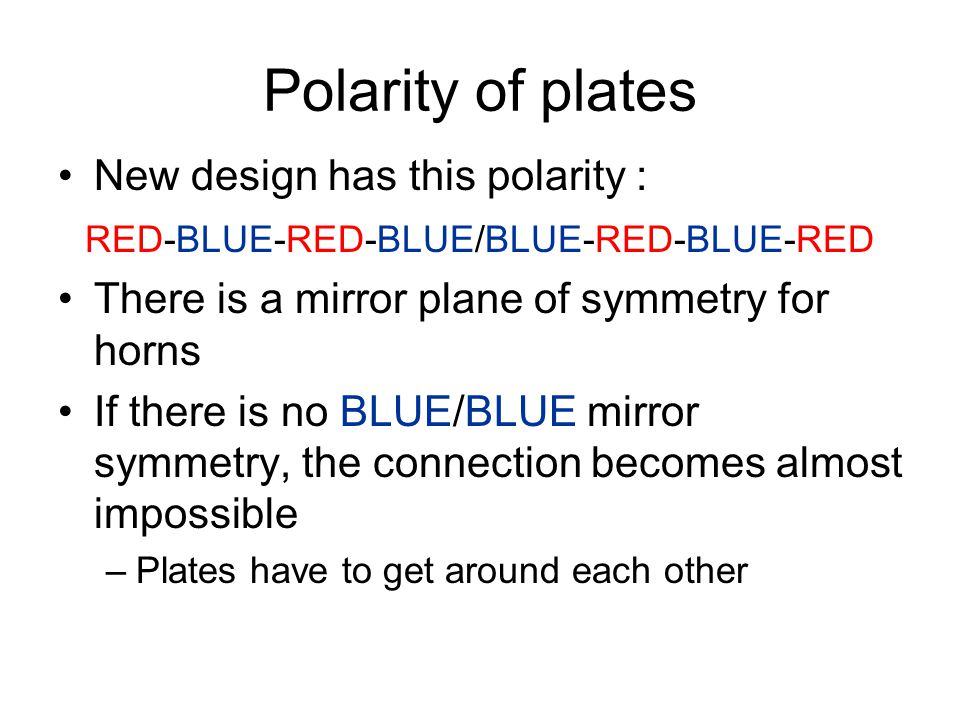 Polarity of plates New design has this polarity : RED-BLUE-RED-BLUE/BLUE-RED-BLUE-RED There is a mirror plane of symmetry for horns If there is no BLU